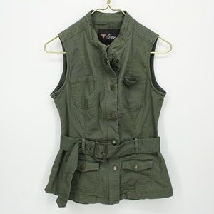 Guess Forest Green Belted Military Vest